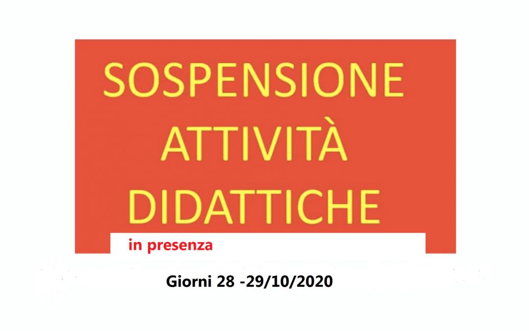 Giorni 28 e 29/10/2020 sospensione attività didattica in presenza e avvio Didattica Digitale Integrata